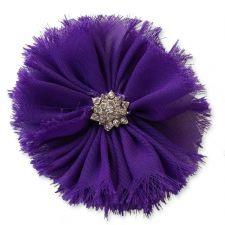 8cm Frayed Diamante DARK PURPLE Fabric Flower Applique